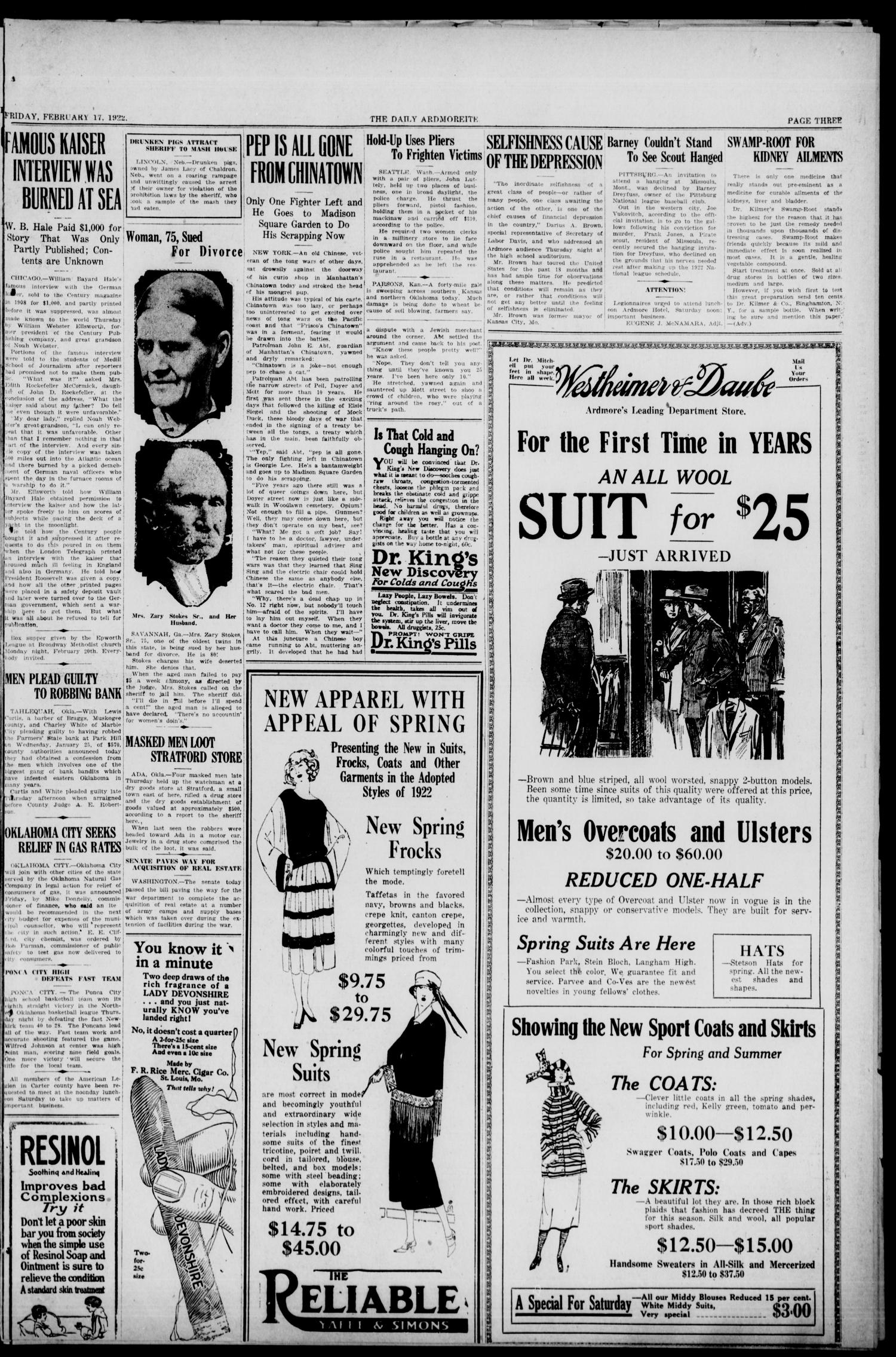 Daily Ardmoreite (Ardmore, Okla.), Vol. 29, No. 42, Ed. 1 Friday, February 17, 1922                                                                                                      [Sequence #]: 3 of 12
