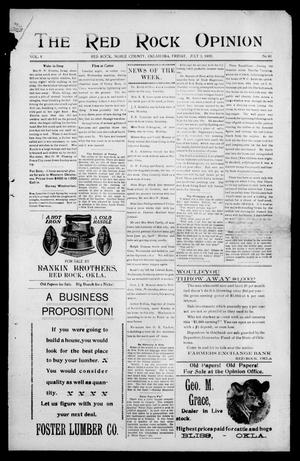 Primary view of object titled 'The Red Rock Opinion (Red Rock, Okla.), Vol. 5, No. 48, Ed. 1 Friday, July 3, 1908'.