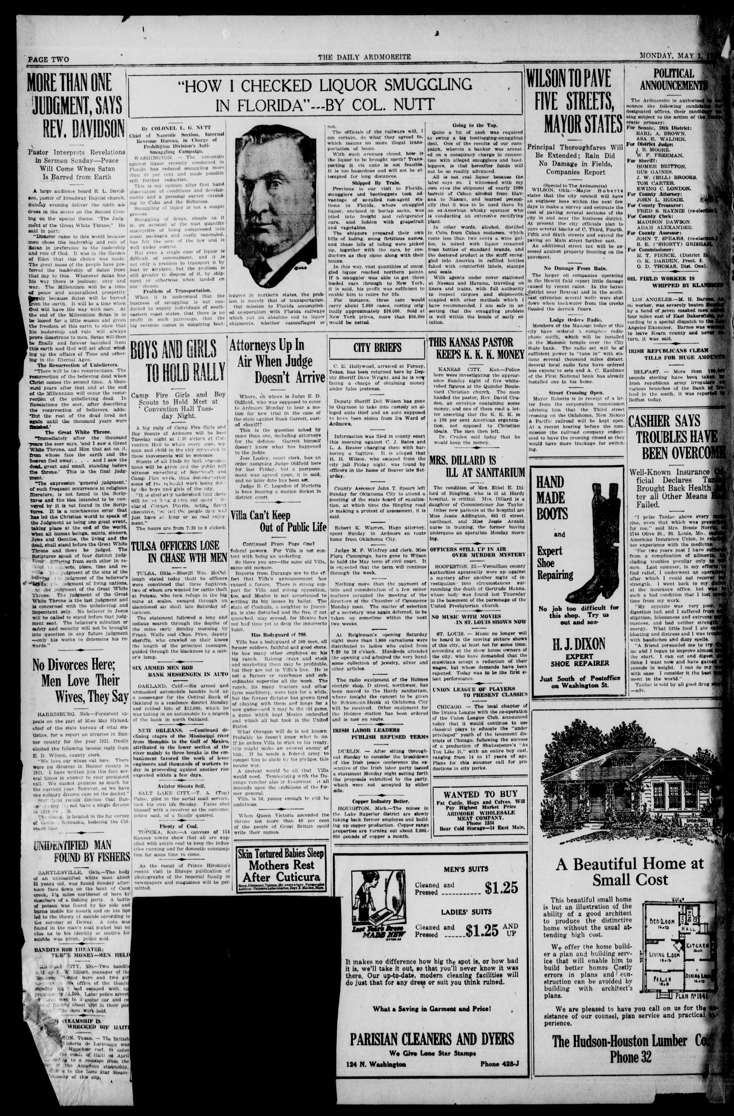 Daily Ardmoreite (Ardmore, Okla.), Vol. 29, No. 104, Ed. 1 Monday, May 1, 1922                                                                                                      [Sequence #]: 2 of 8
