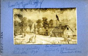 Primary view of J. M. Hiatt's Store, Dunlap and Florer Store, and the Council House