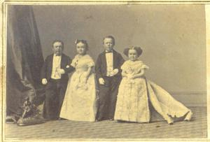 Primary view of General Tom Thumb, Mrs. Tom Thumb, Commodore Nutt, and Minie Warren
