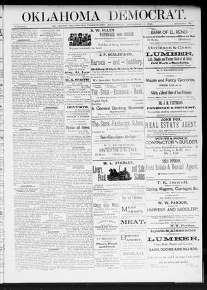 Primary view of Oklahoma Democrat. (El Reno, Okla. Terr.), Vol. 1, No. 34, Ed. 1 Saturday, October 17, 1891