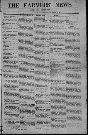 Primary view of object titled 'The Farmers' News. (Sands City [Knowles P. O.], Okla.), Vol. 1, No. 11, Ed. 1 Thursday, October 10, 1907'.