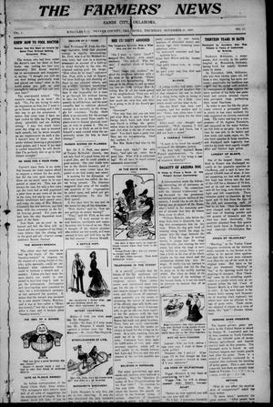 Primary view of object titled 'The Farmers' News. (Sands City [Knowles P. O.], Okla.), Vol. 1, No. 17, Ed. 1 Thursday, November 21, 1907'.