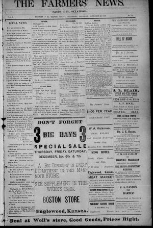 Primary view of object titled 'The Farmers' News. (Sands City [Knowles P. O.], Okla.), Vol. 1, No. 18, Ed. 1 Thursday, November 28, 1907'.