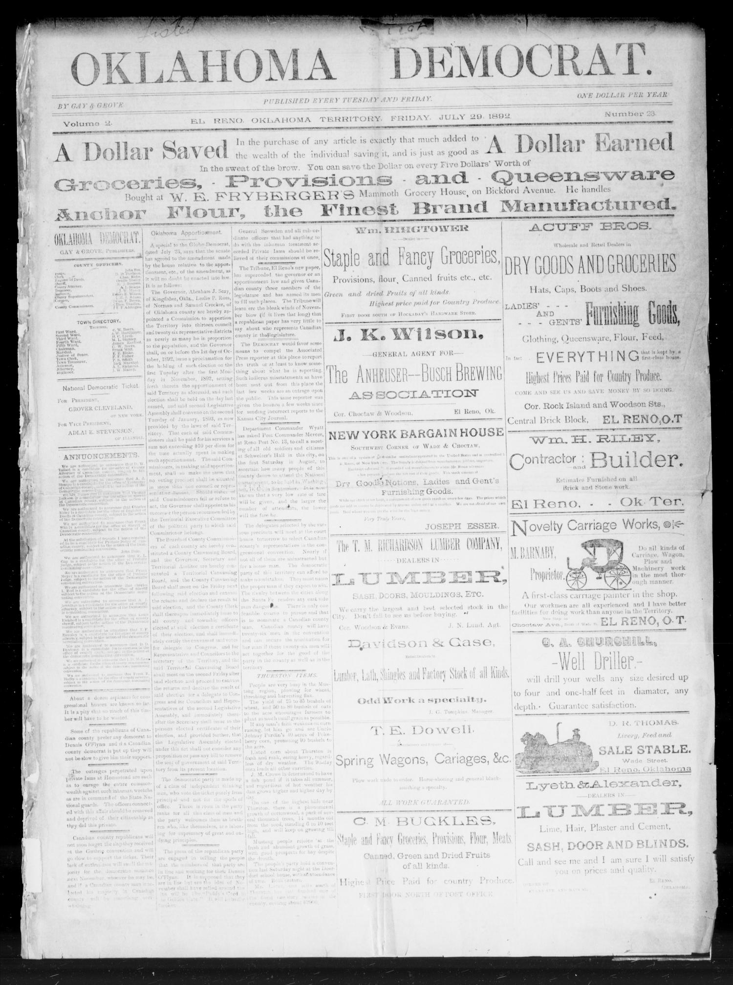 Oklahoma Democrat. (El Reno, Okla. Terr.), Vol. 2, No. 23, Ed. 1 Friday, July 29, 1892                                                                                                      [Sequence #]: 1 of 6