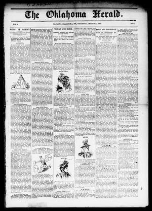 Primary view of object titled 'The Oklahoma Herald. (El Reno, Okla. Terr.), Vol. 4, No. 45, Ed. 1 Thursday, March 2, 1893'.
