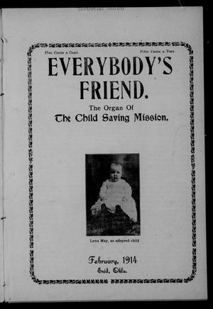 Primary view of object titled 'Everybody's Friend. (Enid, Okla.), Vol. 12, No. 2, Ed. 1 Sunday, February 1, 1914'.