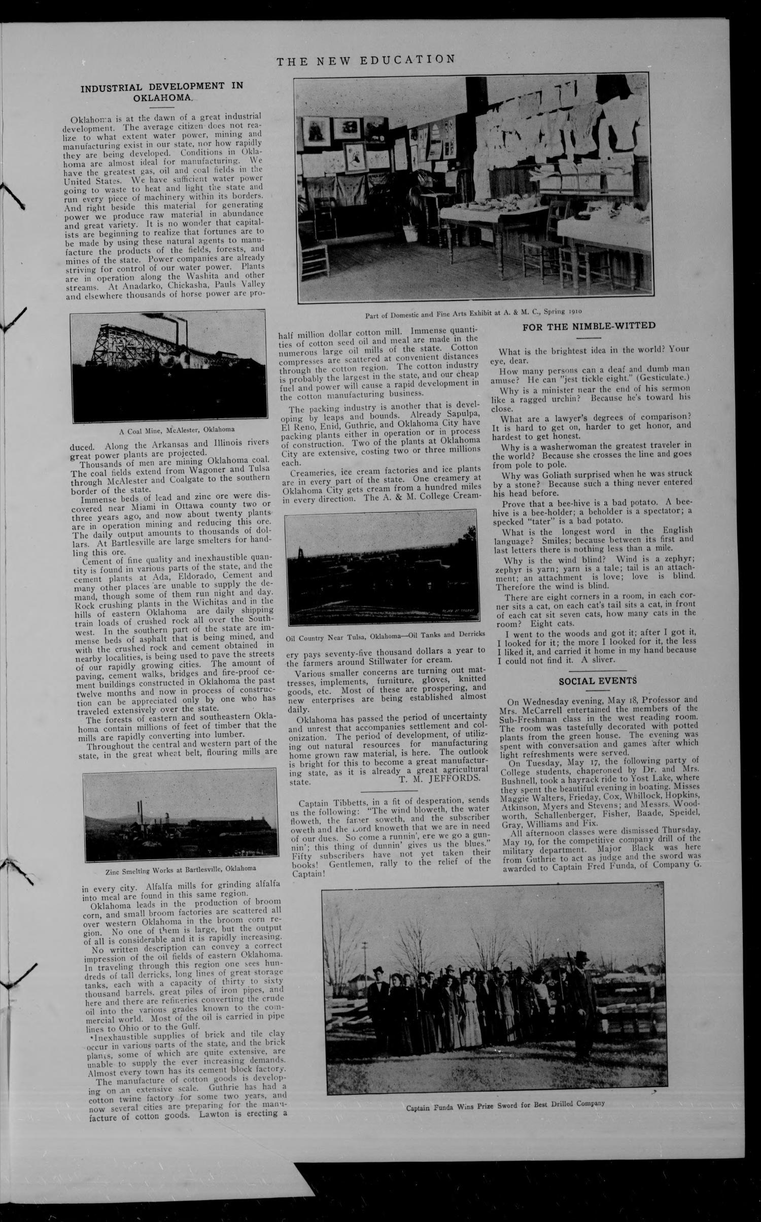 The New Education (Stillwater, Okla.), Vol. 1, No. 12, Ed. 1 Wednesday, June 1, 1910                                                                                                      [Sequence #]: 3 of 4