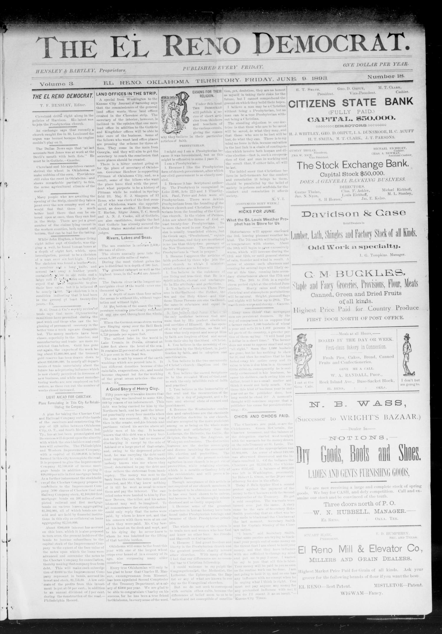 The El Reno Democrat. (El Reno, Okla. Terr.), Vol. 3, No. 18, Ed. 1 Friday, June 9, 1893                                                                                                      [Sequence #]: 1 of 6
