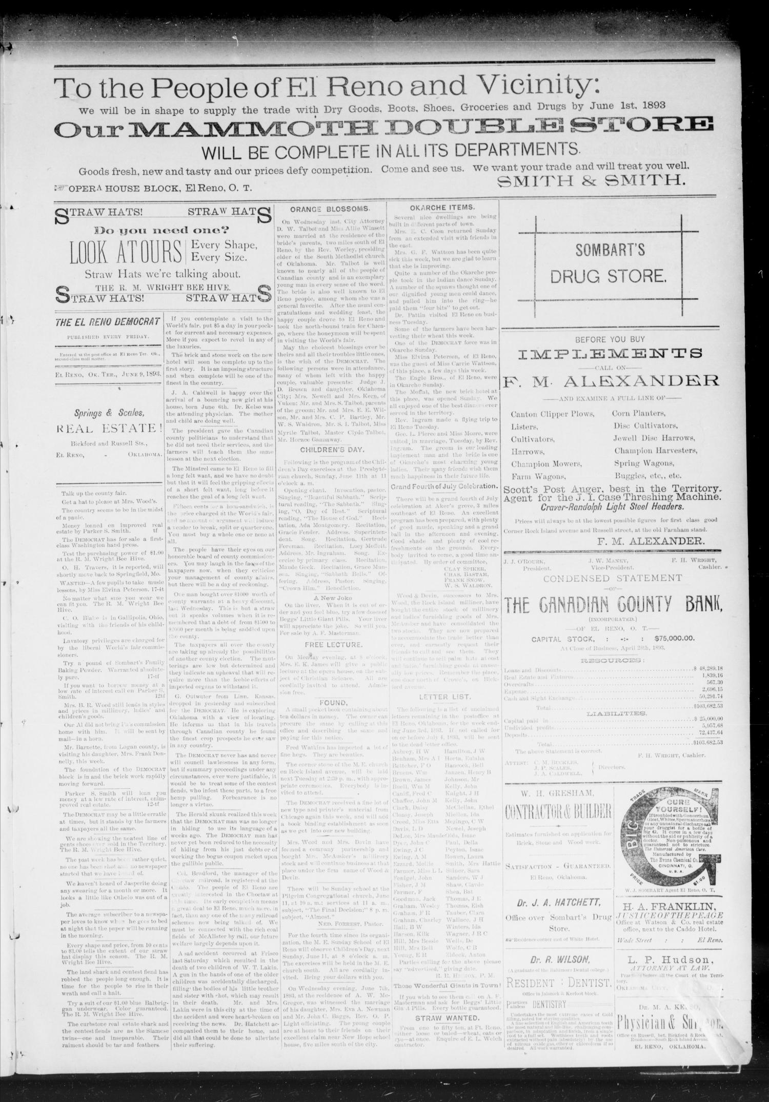 The El Reno Democrat. (El Reno, Okla. Terr.), Vol. 3, No. 18, Ed. 1 Friday, June 9, 1893                                                                                                      [Sequence #]: 3 of 6