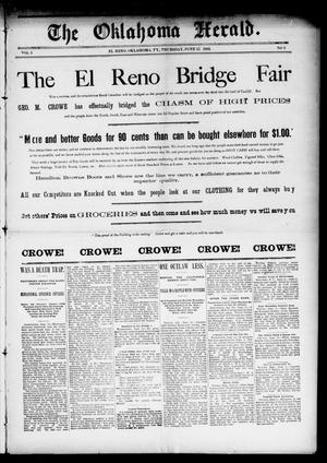 Primary view of object titled 'The Oklahoma Herald. (El Reno, Okla. Terr.), Vol. 5, No. 8, Ed. 1 Thursday, June 15, 1893'.