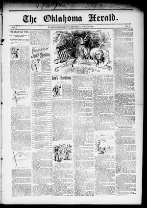 Primary view of object titled 'The Oklahoma Herald. (El Reno, Okla. Terr.), Vol. 5, No. 10, Ed. 1 Thursday, June 29, 1893'.