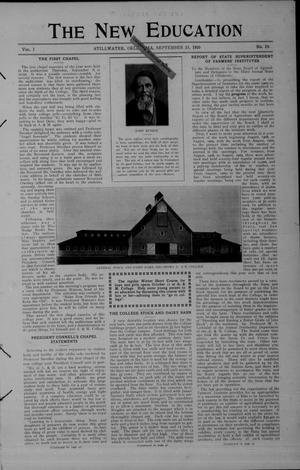 Primary view of object titled 'The New Education (Stillwater, Okla.), Vol. 1, No. 19, Ed. 1 Thursday, September 15, 1910'.