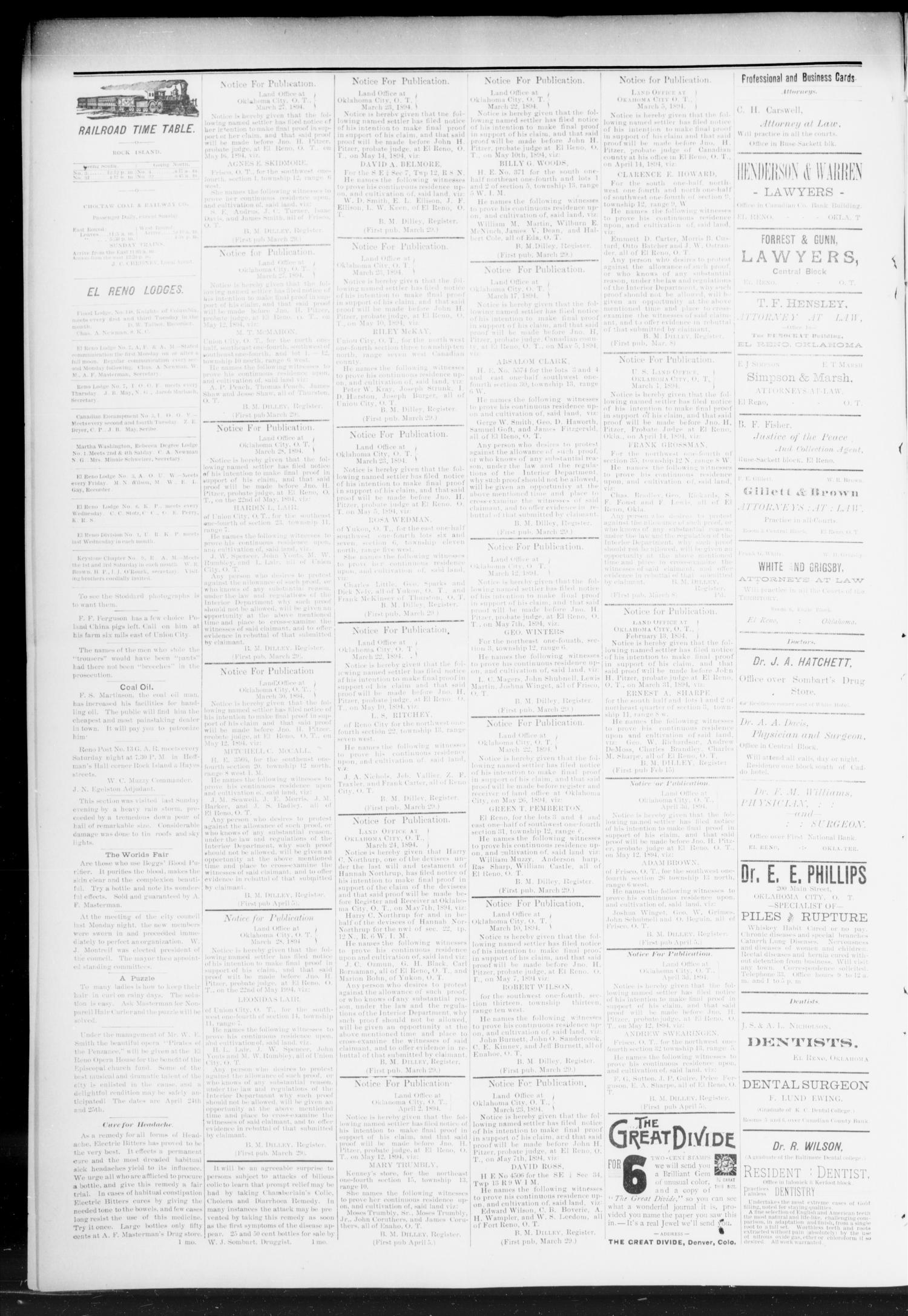 The El Reno Democrat. (El Reno, Okla. Terr.), Vol. 5, No. 11, Ed. 1 Thursday, April 12, 1894                                                                                                      [Sequence #]: 2 of 8