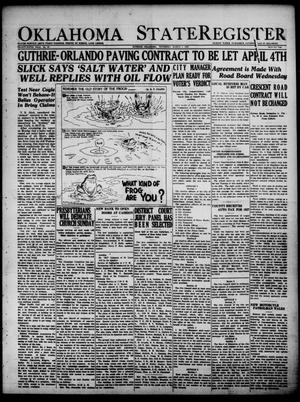 Primary view of Oklahoma State Register (Guthrie, Okla.), Vol. 35, No. 39, Ed. 1 Thursday, March 3, 1927