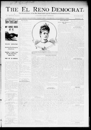 Primary view of object titled 'The El Reno Democrat. (El Reno, Okla. Terr.), Vol. 5, No. 41, Ed. 1 Thursday, November 8, 1894'.