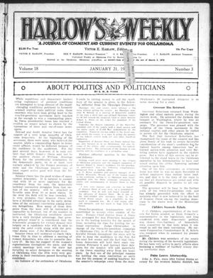 Primary view of object titled 'Harlow's Weekly (Oklahoma City, Okla.), Vol. 18, No. 3, Ed. 1 Wednesday, January 21, 1920'.