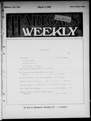 Primary view of object titled 'Harlow's Weekly (Oklahoma City, Okla.), Vol. 51, No. 9, Ed. 1 Saturday, March 4, 1939'.