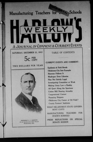 Primary view of object titled 'Harlow's Weekly (Oklahoma City, Okla.), Vol. 1, No. 19, Ed. 1 Saturday, December 21, 1912'.