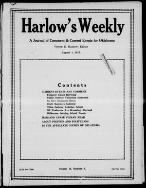 Primary view of object titled 'Harlow's Weekly (Oklahoma City, Okla.), Vol. 13, No. 5, Ed. 1 Wednesday, August 1, 1917'.