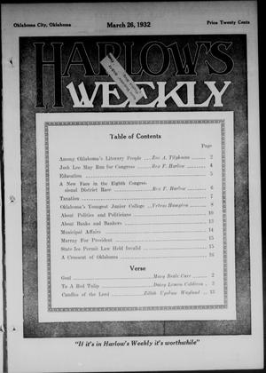 Primary view of Harlow's Weekly (Oklahoma City, Okla.), Vol. 39, No. 13, Ed. 1 Saturday, March 26, 1932