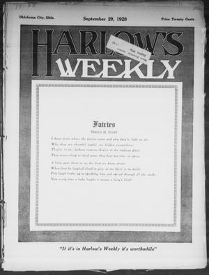 Primary view of Harlow's Weekly (Oklahoma City, Okla.), Vol. 27, No. 39, Ed. 1 Saturday, September 29, 1928