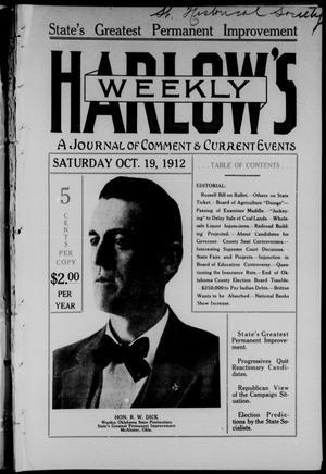 Primary view of Harlow's Weekly (Oklahoma City, Okla.), Vol. 1, No. 10, Ed. 1 Saturday, October 19, 1912