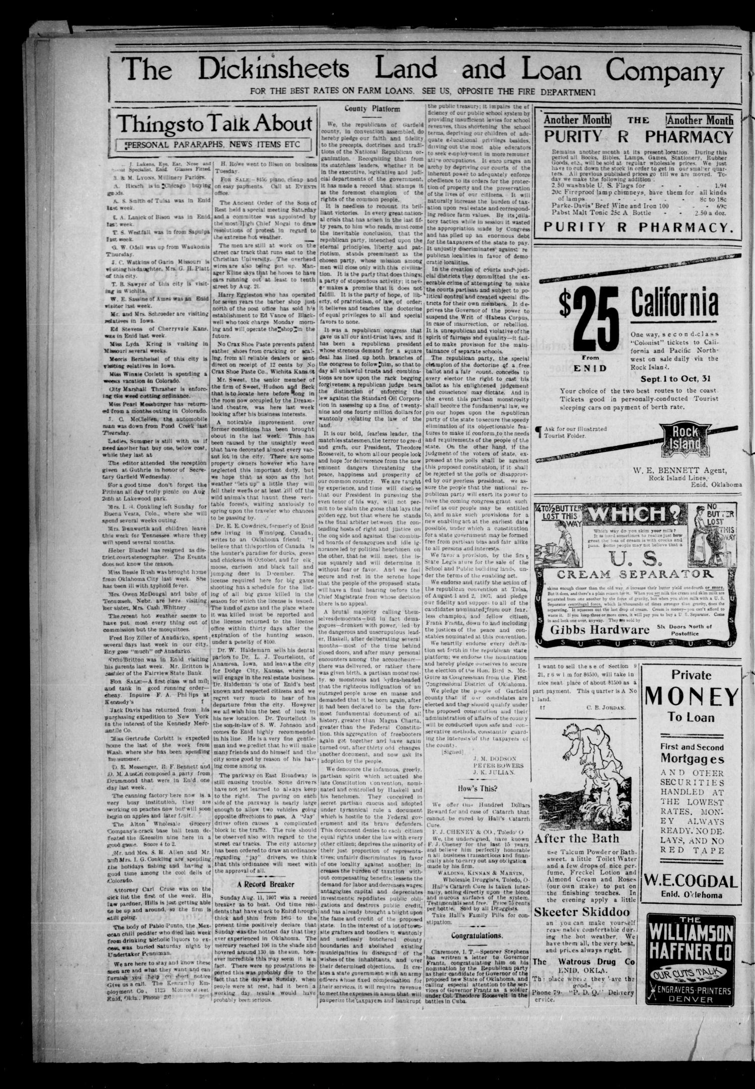 The Enid Events. (Enid, Okla.), Vol. 15, No. 46, Ed. 1 Thursday, August 15, 1907                                                                                                      [Sequence #]: 4 of 8