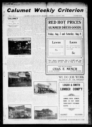 Primary view of object titled 'Calumet Weekly Criterion (Calumet, Okla.), Vol. 1, No. 2, Ed. 1 Saturday, August 1, 1908'.