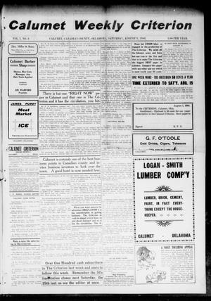 Primary view of object titled 'Calumet Weekly Criterion (Calumet, Okla.), Vol. 1, No. 3, Ed. 1 Saturday, August 8, 1908'.