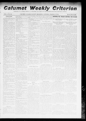 Primary view of object titled 'Calumet Weekly Criterion (Calumet, Okla.), Vol. 2, No. 34, Ed. 1 Saturday, March 12, 1910'.
