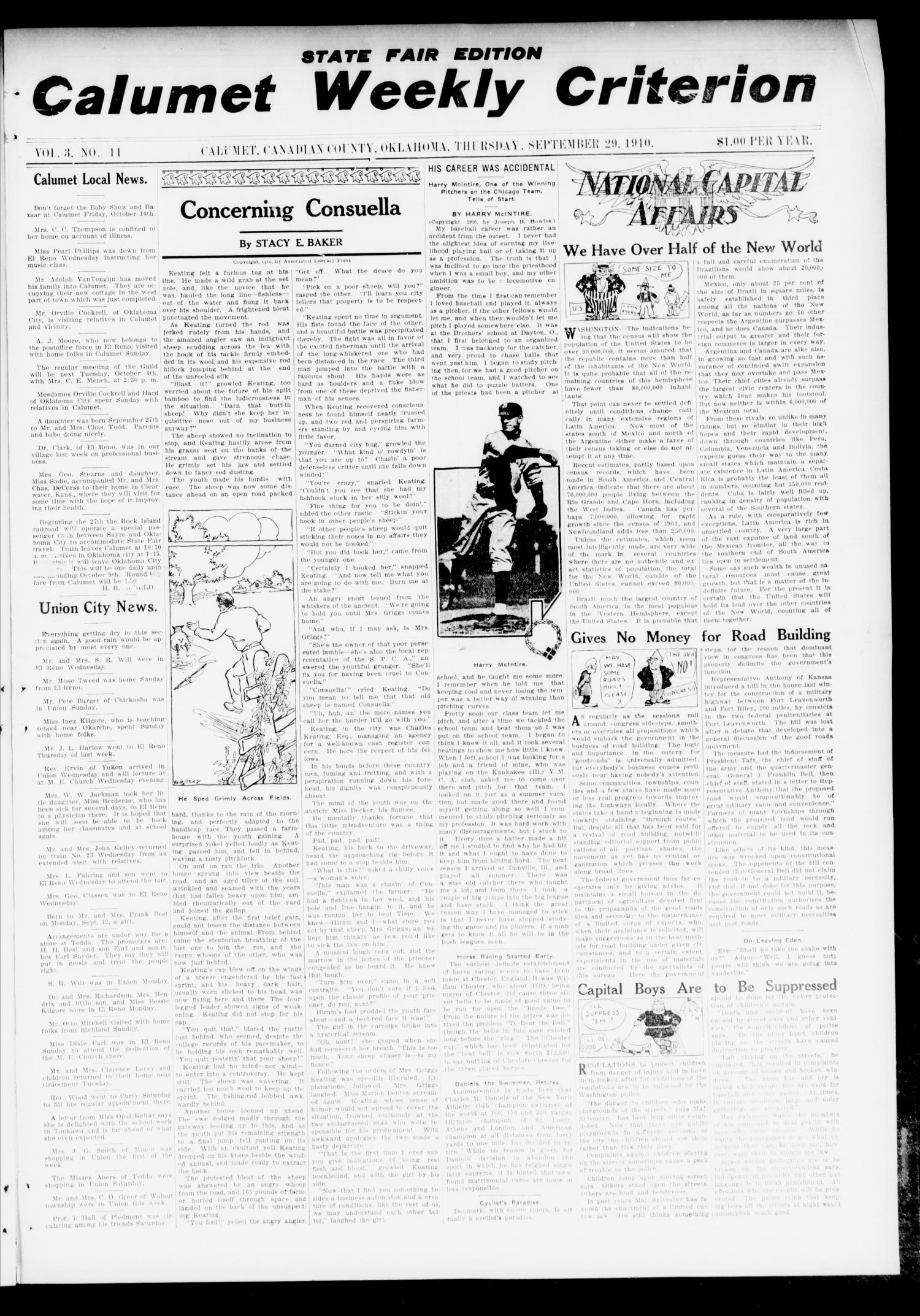 Calumet Weekly Criterion (Calumet, Okla.), Vol. 3, No. 11, Ed. 1 Thursday, September 29, 1910                                                                                                      [Sequence #]: 1 of 12