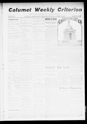 Primary view of object titled 'Calumet Weekly Criterion (Calumet, Okla.), Vol. 3, No. 14, Ed. 1 Thursday, October 20, 1910'.
