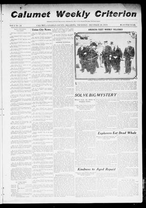 Primary view of object titled 'Calumet Weekly Criterion (Calumet, Okla.), Vol. 3, No. 24, Ed. 1 Thursday, December 29, 1910'.