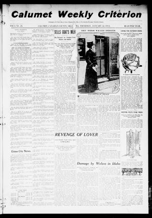 Primary view of object titled 'Calumet Weekly Criterion (Calumet, Okla.), Vol. 3, No. 26, Ed. 1 Thursday, January 12, 1911'.