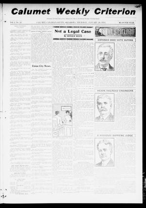 Primary view of object titled 'Calumet Weekly Criterion (Calumet, Okla.), Vol. 3, No. 28, Ed. 1 Thursday, January 26, 1911'.