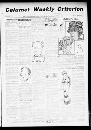 Primary view of object titled 'Calumet Weekly Criterion (Calumet, Okla.), Vol. 3, No. 47, Ed. 1 Thursday, June 8, 1911'.