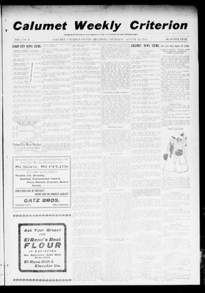 Primary view of object titled 'Calumet Weekly Criterion (Calumet, Okla.), Vol. 4, No. 6, Ed. 1 Thursday, August 24, 1911'.
