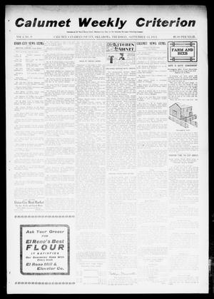 Primary view of object titled 'Calumet Weekly Criterion (Calumet, Okla.), Vol. 4, No. 9, Ed. 1 Thursday, September 14, 1911'.