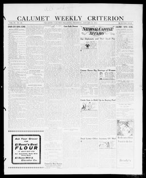Primary view of object titled 'Calumet Weekly Criterion (Oklahoma [Calumet], Okla.), Vol. 4, No. 26, Ed. 1 Thursday, January 11, 1912'.