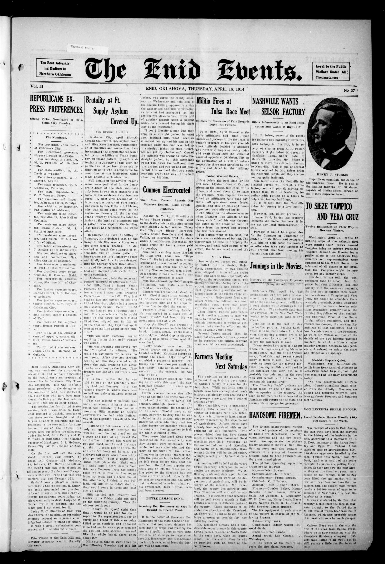 The Enid Events. (Enid, Okla.), Vol. 21, No. 27, Ed. 1 Thursday, April 16, 1914                                                                                                      [Sequence #]: 1 of 8