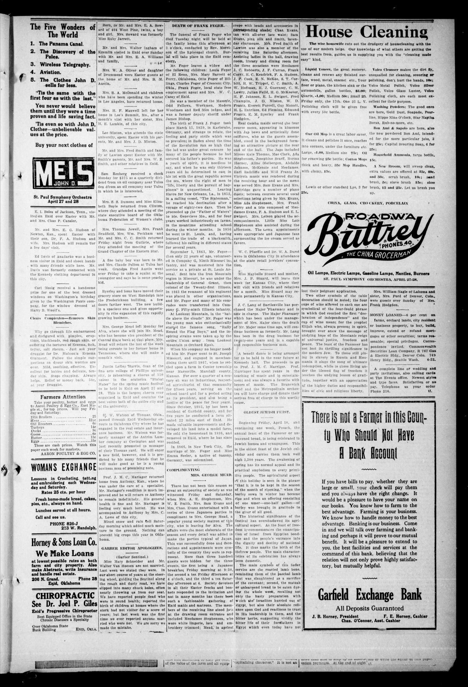 The Enid Events. (Enid, Okla.), Vol. 21, No. 27, Ed. 1 Thursday, April 16, 1914                                                                                                      [Sequence #]: 5 of 8