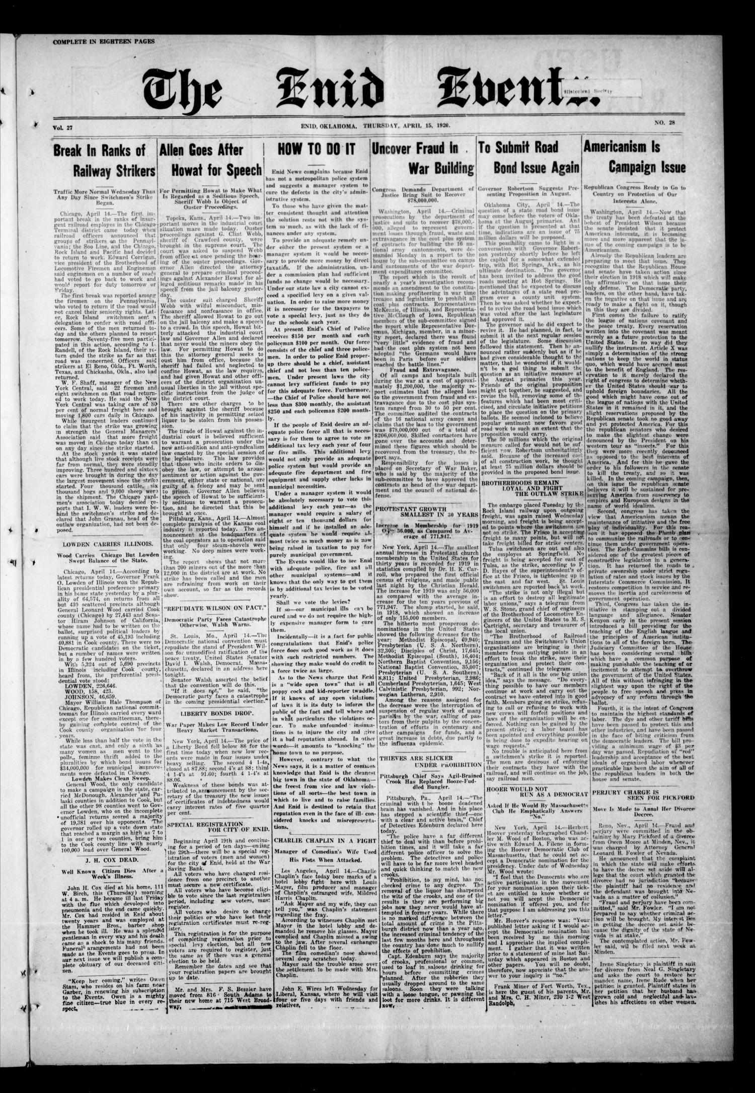 The Enid Events. (Enid, Okla.), Vol. 27, No. 28, Ed. 1 Thursday, April 15, 1920                                                                                                      [Sequence #]: 1 of 18