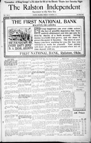 Primary view of The Ralston Independent (Ralston, Okla.), Vol. 7, No. 28, Ed. 1 Thursday, November 2, 1911