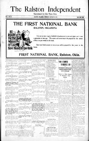 Primary view of object titled 'The Ralston Independent (Ralston, Okla.), Vol. 7, No. 40, Ed. 1 Thursday, January 25, 1912'.