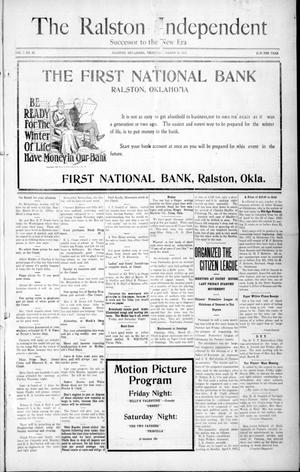 Primary view of object titled 'The Ralston Independent (Ralston, Okla.), Vol. 7, No. 49, Ed. 1 Thursday, March 28, 1912'.