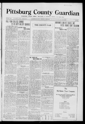 Primary view of object titled 'Pittsburg County Guardian (McAlester, Okla.), Vol. 18, No. 3, Ed. 1 Thursday, September 7, 1922'.