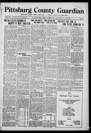 Primary view of object titled 'Pittsburg County Guardian (McAlester, Okla.), Vol. 18, No. 12, Ed. 1 Thursday, November 9, 1922'.