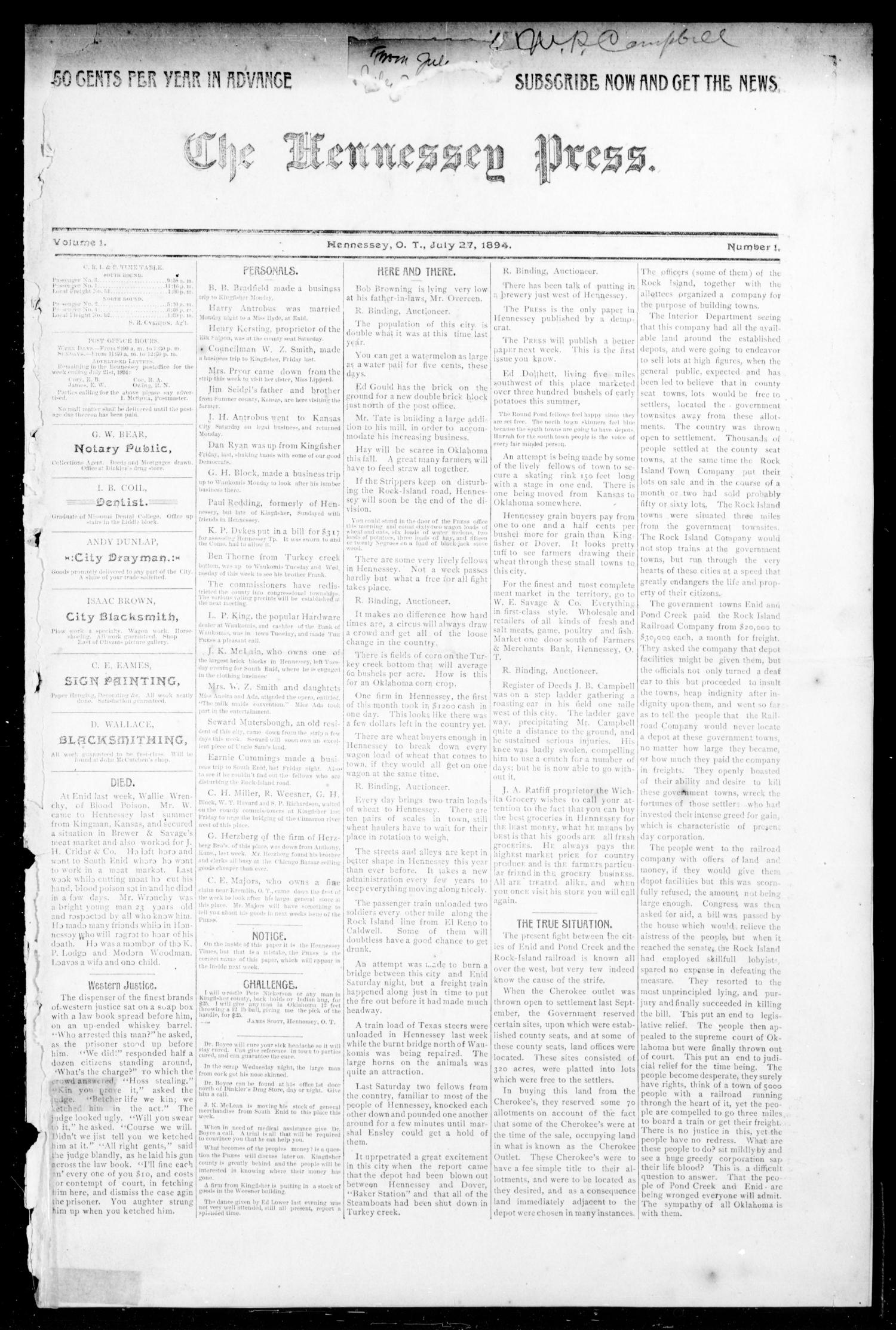 The Hennessey Press. (Hennessey, Okla. Terr.), Vol. 1, No. 1, Ed. 1 Friday, July 27, 1894                                                                                                      [Sequence #]: 1 of 8